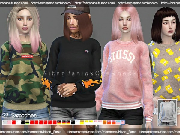 The Sims Resource: Crewneck Sweater Sweatshirt Collection by Nitro Panic