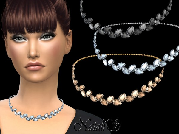 The Sims Resource: Pear cut crystals necklace by NataliS