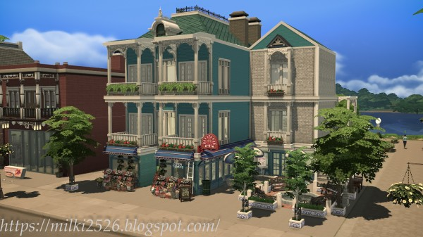 Milki2526 flower shop with apartment sims 4 downloads for Shop with apartment