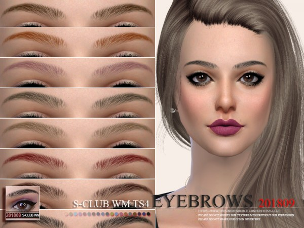 The Sims Resource: Eyebrows 201809 by S club