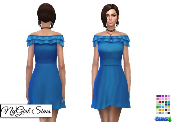 NY Girl Sims: Off Shoulder Ruffle Skater Dress