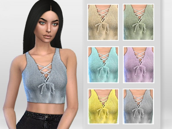 The Sims Resource: Lace up Front Crochet Top by Puresim