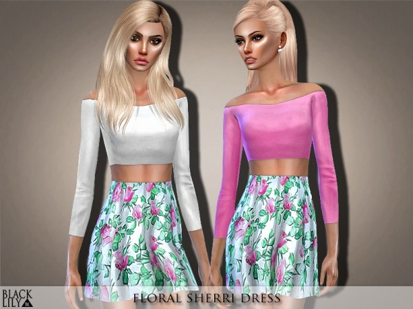 The Sims Resource: Floral Sherri Dress by Black Lily