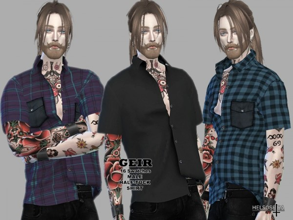 The Sims Resource: GEIR Half Tuck Shirt by Helsoseira