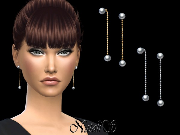 The Sims Resource: Double pearl chain earrings by NataliS