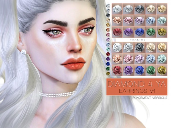 The Sims Resource: Diamond 4 Ya   Earrings Duo by Pralinesims