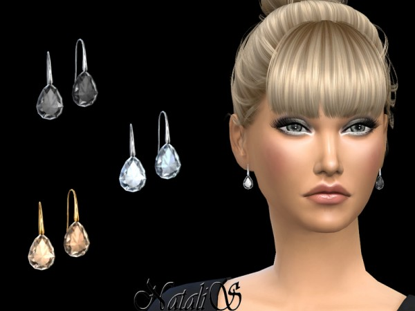 The Sims Resource: Pear cut crystal earrings by NataliS