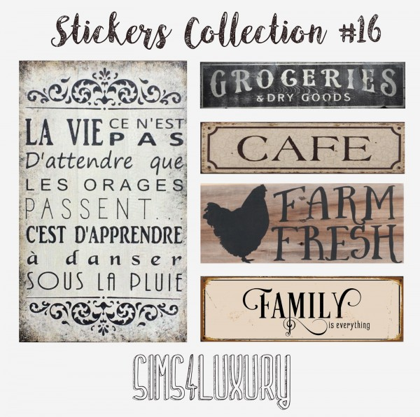Sims4Luxury: Stickers Collection 16