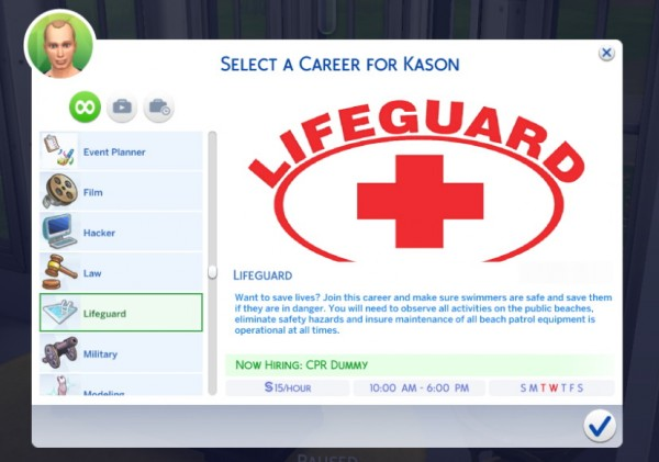Mod The Sims: Lifeguard Career by Sims Lover
