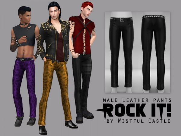 The Sims Resource: Rock it!   male leather pants by WistfulCastle