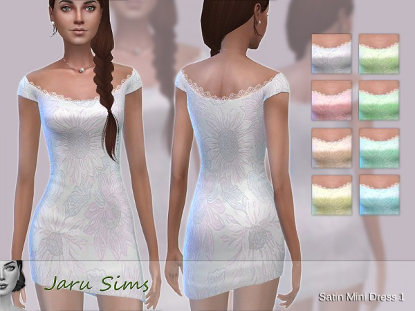 The Sims Resource: Satin Mini Dress 1 by Jaru Sims