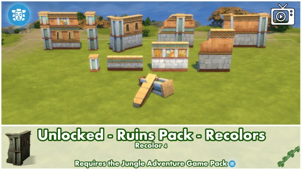 mod the sims unlocked ruins pack jungle adventure by. Black Bedroom Furniture Sets. Home Design Ideas