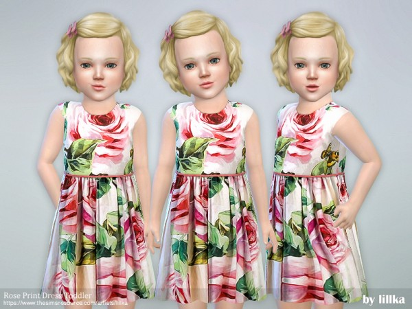 The Sims Resource: Rose Print Dress Toddler by lillka