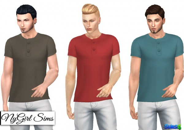 NY Girl Sims: Side Cut Button Tee