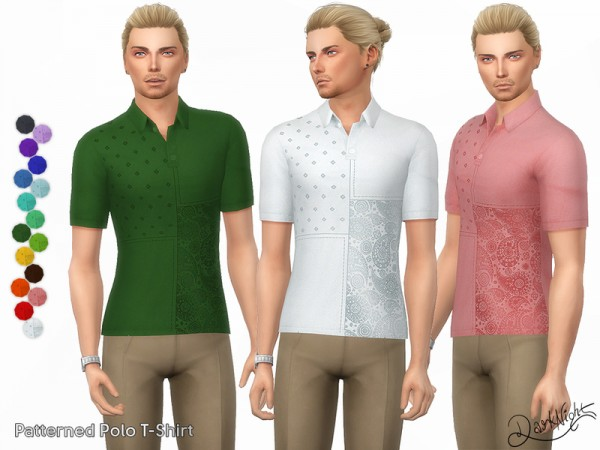 The Sims Resource: Patterned Polo T Shirt by DarkNighTt
