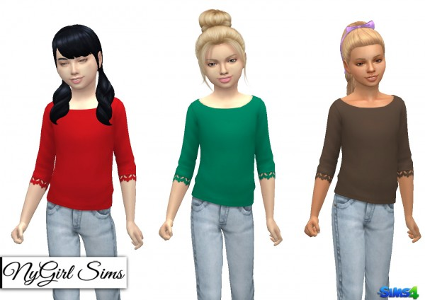 NY Girl Sims: Wide Neck Lace Trim Sweater