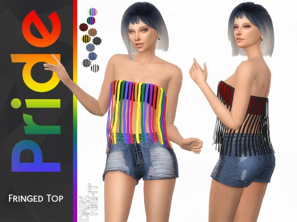 The Sims Resource: Pride Collection Fringed Top by DarkNighTt