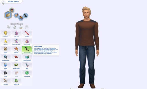 Mod The Sims: Grey Warden Trait by hayleysimzy