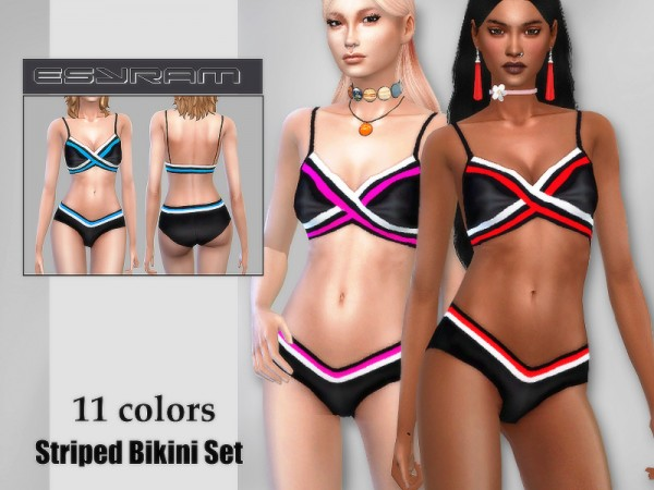 The Sims Resource: Striped Bikini Set by EsyraM