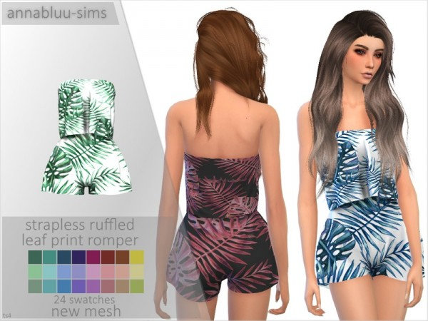 The Sims Resource: Strapless Ruffled Leaf Print Romper by Annabluu