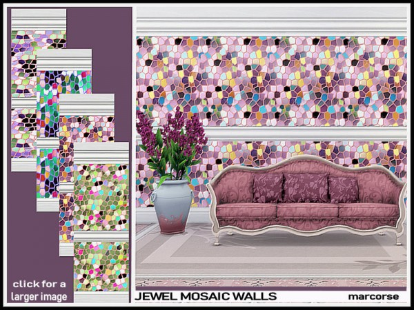 The Sims Resource: Jewel Mosaic Walls by marcorse