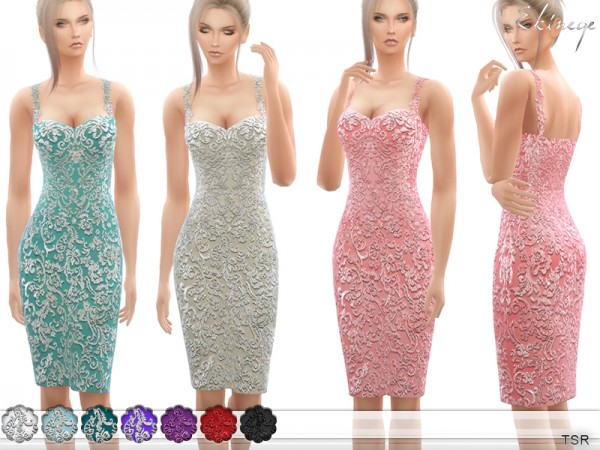 The Sims Resource: Beaded Lace Appliques Dress by ekinege