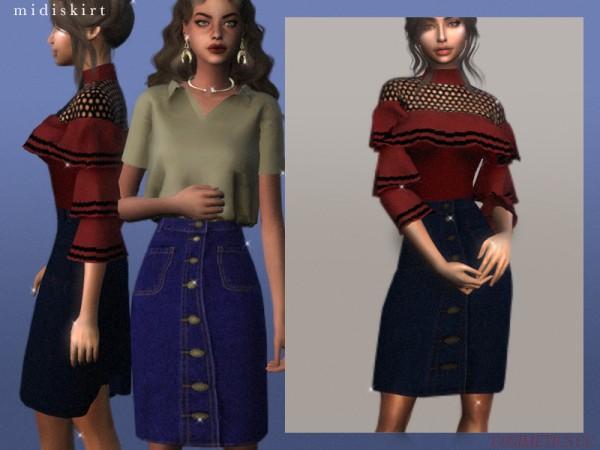 The Sims Resource: Midi skirt by cosimetics