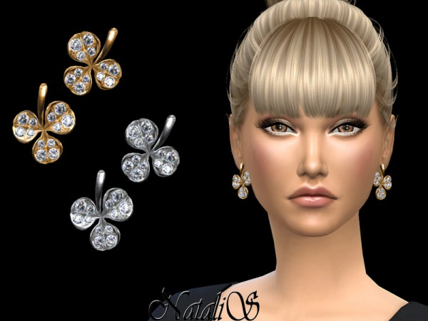 The Sims Resource: Clover leaf earrings by NataliS