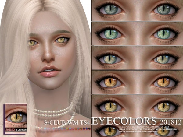 The Sims Resource: Eyecolors 201812 by S Club