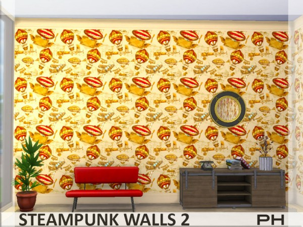 The Sims Resource: Steampunk Walls 2 by Pinkfizzzzz