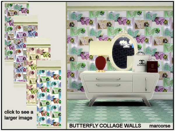 The Sims Resource: Butterfly Collage Walls by marcorse