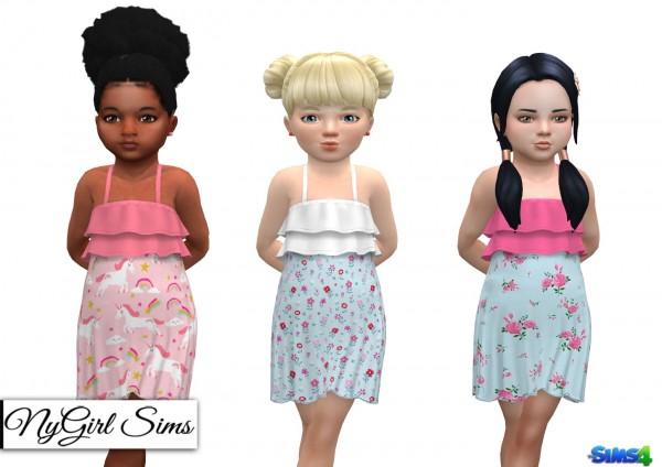 NY Girl Sims: Ruffle Top Printed Sundress