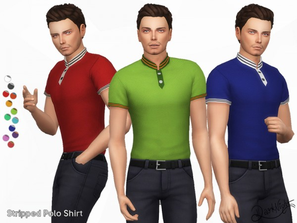 The Sims Resource: Stripped Polo Shirt by DarkNighTt