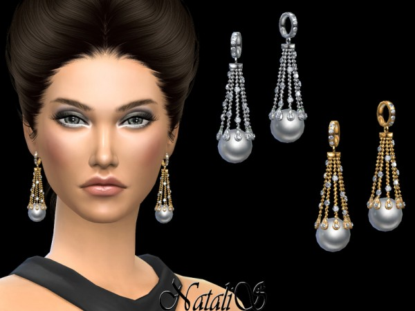 The Sims Resource: Waterfall earrings with pearl by NataliS