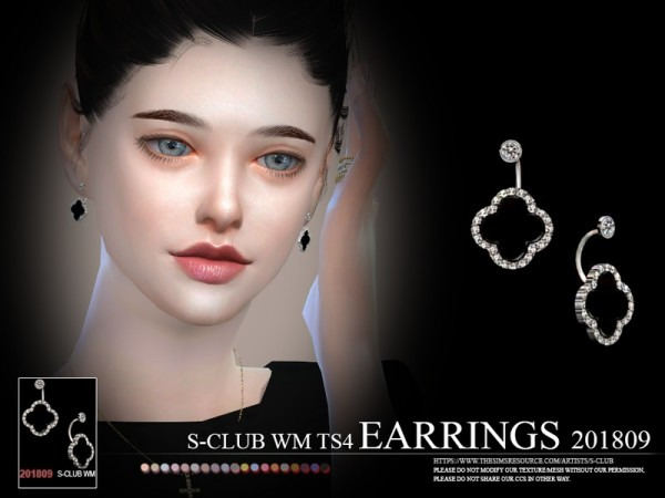 The Sims Resource: Earrings F 201809 by S Club
