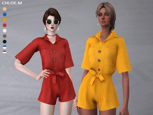 The Sims Resource: Short sleeved Jumpsuits by ChloeMMM