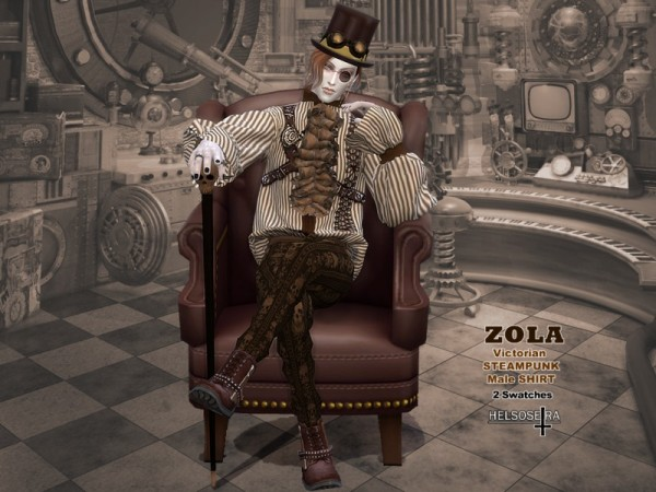 The Sims Resource: ZOLA   Victorian Steampunk Shirt by Helsoseira