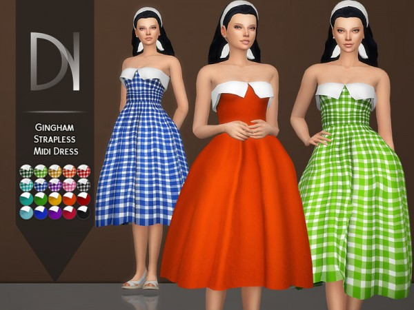 The Sims Resource: Gingham Strapless Midi Dress by DarkNighTt