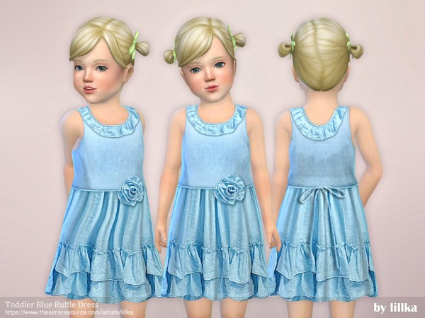 The Sims Resource: Toddler Blue Ruffle Dress by lillka