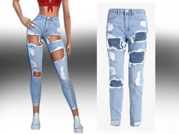 The Sims Resource: High Rise Ultra Ripped Jeans by Saliwa