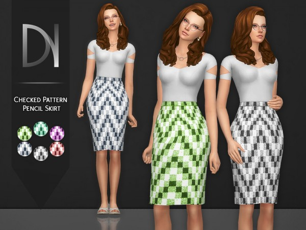 The Sims Resource: Checked Pattern Pencil Skirt by DarkNighTt