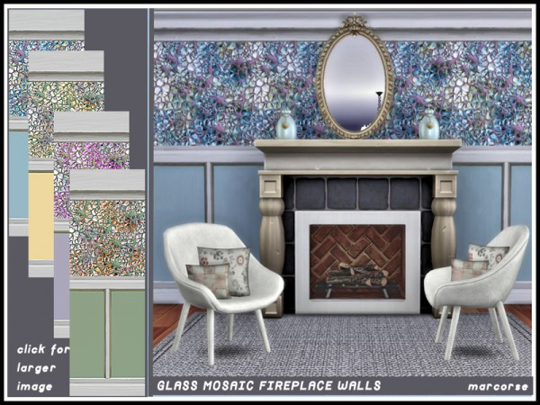 The Sims Resource: Glass Mosaic Fireplace Walls by marcorse