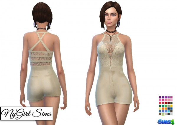 NY Girl Sims: Belted Romper With Lace Overlay