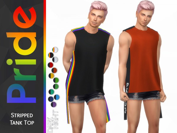 The Sims Resource: Pride Collection Stripped Tank Top by DarkNighTt