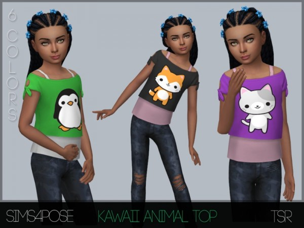 The Sims Resource: Kawaii Animal Top by Sims4Pose