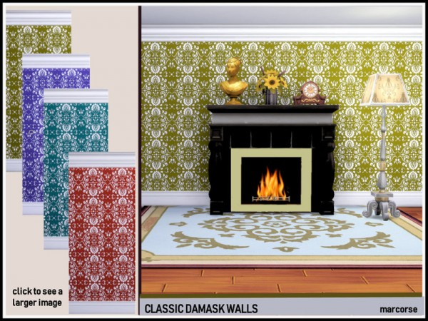 The Sims Resource: Classic Damask Walls by marcorse