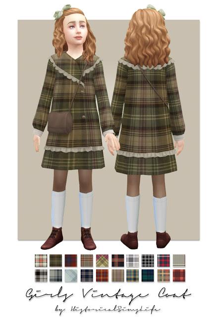 History Lovers Sims Blog: Girls Vintage Coat patterned