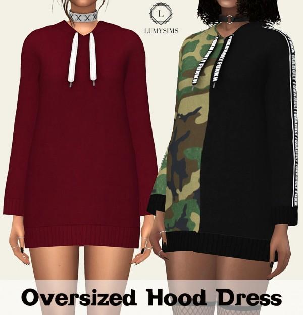 LumySims: Oversized Hood Dress