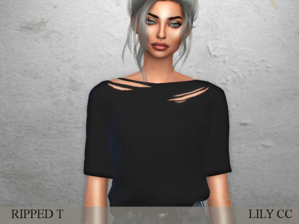 The Sims Resource: Ripped Top by lily cc