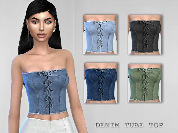 The Sims Resource: Denim Tube Top by Puresim